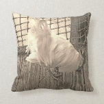 rooster on dock sepia bird image pillow
