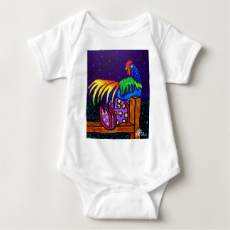 Rooster on Fence by Piliero Baby Bodysuit