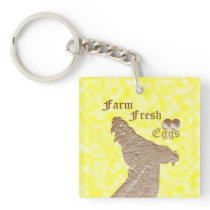 Rooster On Fence With Farm Fresh Eggs Logo, Keychain