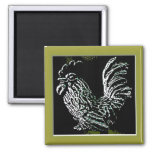 Rooster on Green Magnet