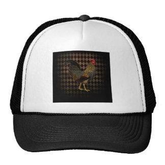 Rooster on harlequin trucker hat