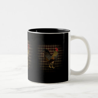 Rooster on harlequin Two-Tone coffee mug