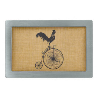 Rooster on Penny Farthing Bicycle Belt Buckle