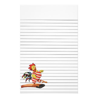 Rooster on the Diving Board Lined Stationery