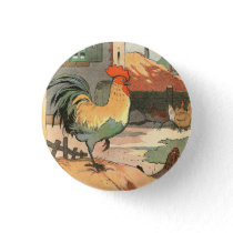 Rooster on the Farm Button