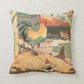 Rooster on the Farm Throw Pillow