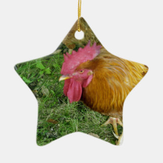 Rooster on the Prowl Ceramic Ornament