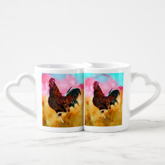 Rooster On the Run Coffee Mug Set