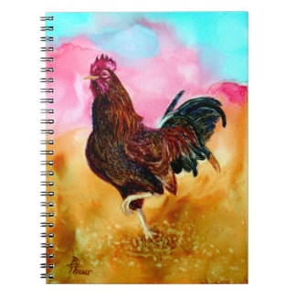 Rooster On the Run Spiral Notebooks