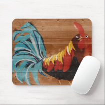 rooster painted on wood mouse pad