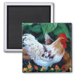 ROOSTER PAINTING 2 INCH SQUARE MAGNET