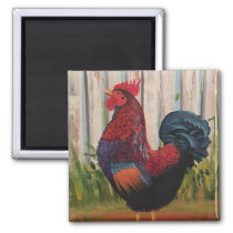 Rooster Painting Art Magnet