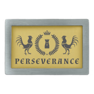 Rooster Perseverance Blazon Rectangular Belt Buckle