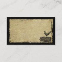 Rooster & Pig- Prim Biz Cards