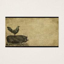 Rooster & Pig Stack-2-  Prim Biz Cards