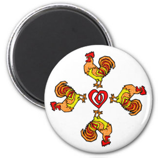 Rooster Pinwheel 2 Inch Round Magnet
