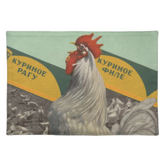 Rooster placemat - u.s.s.r. vintage poster -