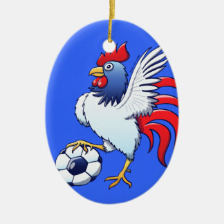 Rooster Posing and Stepping on a Soccer Ball Ceramic Ornament