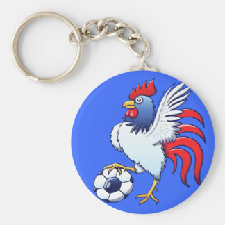 Rooster Posing and Stepping on a Soccer Ball Key Chain