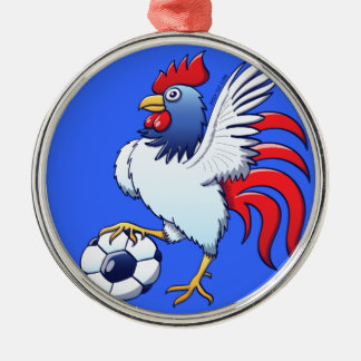 Rooster Posing and Stepping on a Soccer Ball Metal Ornament