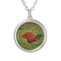 Rooster Preening Silver Plated Necklace