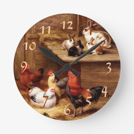 Rooster Rabbit Pets Round Clock