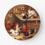 Rooster Rabbit Pets Round Wall Clocks