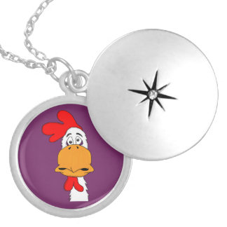 Rooster Round Locket Necklace