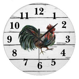 Rooster Rustic Shiplap Farmhouse Decor Large Clock