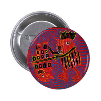 Rooster Scaling a Fish with a Machete Pinback Button