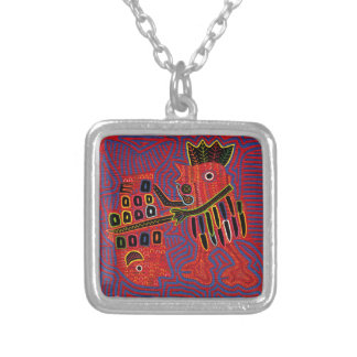 Rooster Scaling a Fish with a Machete Square Pendant Necklace