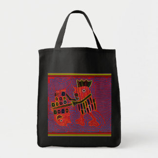 Rooster Scaling a Fish with a Machete Tote Bag