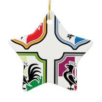 Rooster Shield Logo Ceramic Ornament