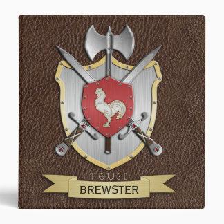 Rooster Sigil Battle Crest Brown 3 Ring Binder
