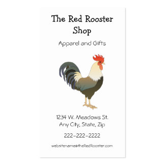 Rooster Simple Animal Country Theme Custom Double-Sided Standard Business Cards (Pack Of 100)