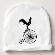 Rooster Sitting on Vintage Bicycle Baby Beanie
