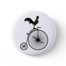 Rooster Sitting on Vintage Bicycle Button