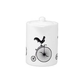 Rooster Sitting On Vintage Bicycle Teapot at Zazzle