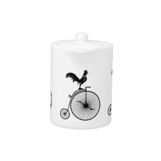 Rooster Sitting on Vintage Bicycle Teapot