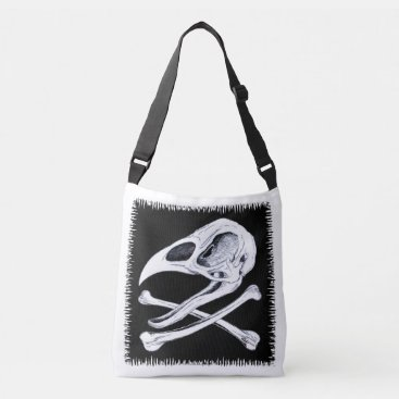 Halloween Themed Rooster Skull and Crossbones Crossbody Bag