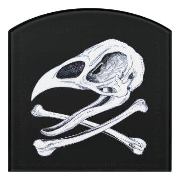 Halloween Themed Rooster Skull and Crossbones Door Sign