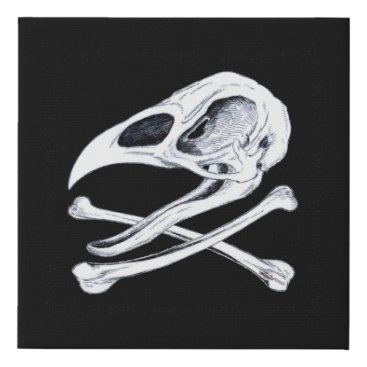 Halloween Themed Rooster Skull and Crossbones Faux Canvas Print