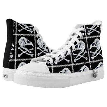 Halloween Themed Rooster Skull and Crossbones High-Top Sneakers