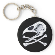 Rooster Skull and Crossbones Keychain