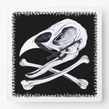 Halloween Themed Rooster Skull and Crossbones Square Wall Clock