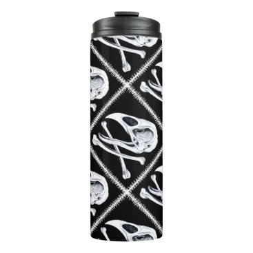 Halloween Themed Rooster Skull and Crossbones Thermal Tumbler