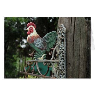 Rooster Statue Card