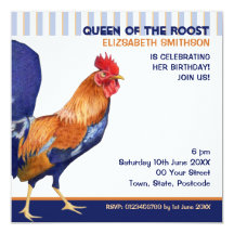 "Rooster stripes Birthday Party Invitation 5.25"" Square Invitation Card"