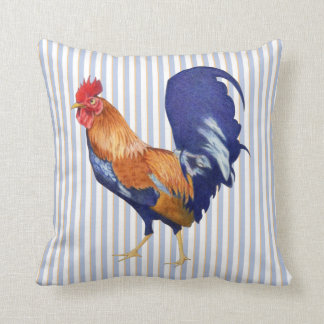 Rooster stripes Cushion Throw Pillow