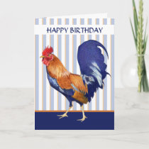 Rooster stripes Happy Birthday Card